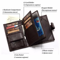 Genuine Leather Wallet Man Passport Holder Coin Purse Magic Walet MAN Mini Vallet Cover