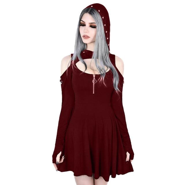 Women's Fashion Gothic Pure Color Hooded Low Cut Cold Shoulder Zippe Mini Dress vestido verano fashion summer clothes for women 5