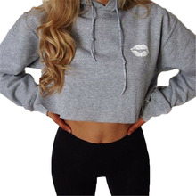 Autumn New Long Sleeve Crop Tops Women Hoodies 2017 Casual Hooded CUTE Lip Printed Sweatshirts Pink Moletom Feminino