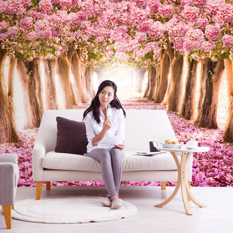 Custom Photo Wallpaper 3D Romantic Cherry Blossoms Large Mural Pink Floral Wallpaper For Girls Bedroom Walls Papel De Parede 3D
