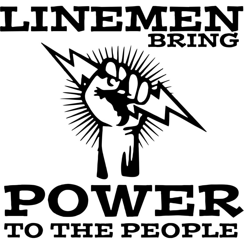 15.5X14.8CM Lineman Electrician Linemen Power To Bardian