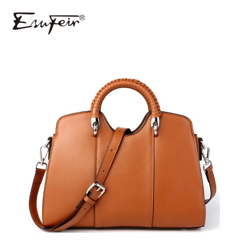 купить 2018 ESUFEIR Brand Fashion Genuine Leather Women Shell Bag Famous Design Women Shoulder Messenger Bag Casual Women Handbag по цене 3202.68 рублей