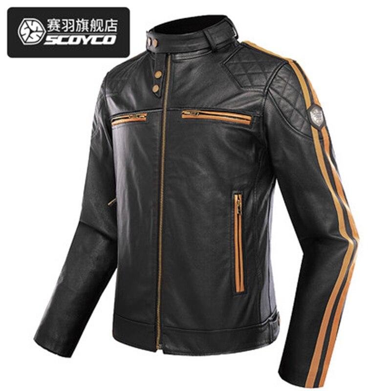 ec6761d77 US $334.8 7% OFF SCOYCO JK68 Newest Motorcycle Leather Jacket Men Classic  Design Multi Zippers Biker Jackets Male Bomber Leather Jackets Coats-in ...
