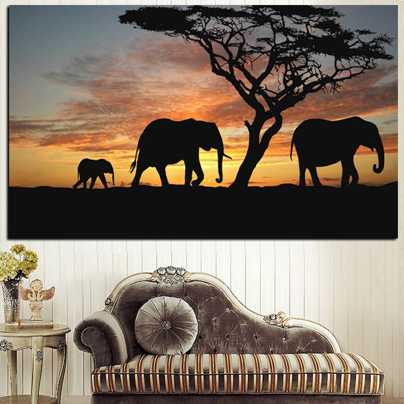 Tree African Elephant Sunset Landscape Painting Print On Canvas Animal Art Wall Picture Artwork For Living Room Cuadros Decor