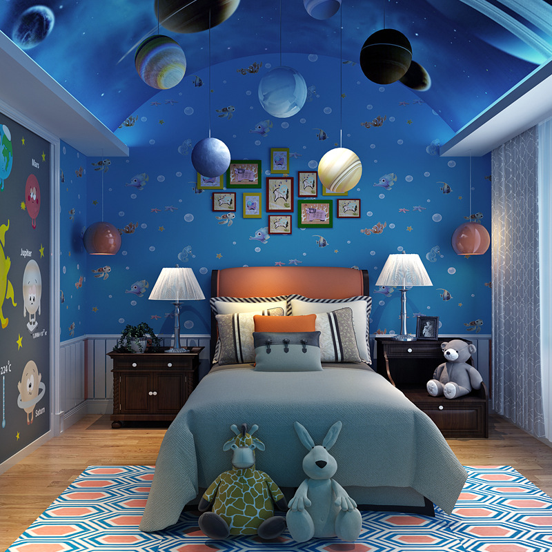 Beibehang Green wallpaper 3D cartoon wallpaper ocean fish kids room background wallpaper boy girl bedroom non-woven 3d wallpaper beibehang new children room wallpaper cartoon non woven striped wallpaper basketball football boy bedroom background wall paper