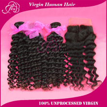 Peruvian Virgin Hair Extension 6A Human Hair Weave Weft Bundles Curly With Middle/ Free Part Lace Closure Human Hair Products