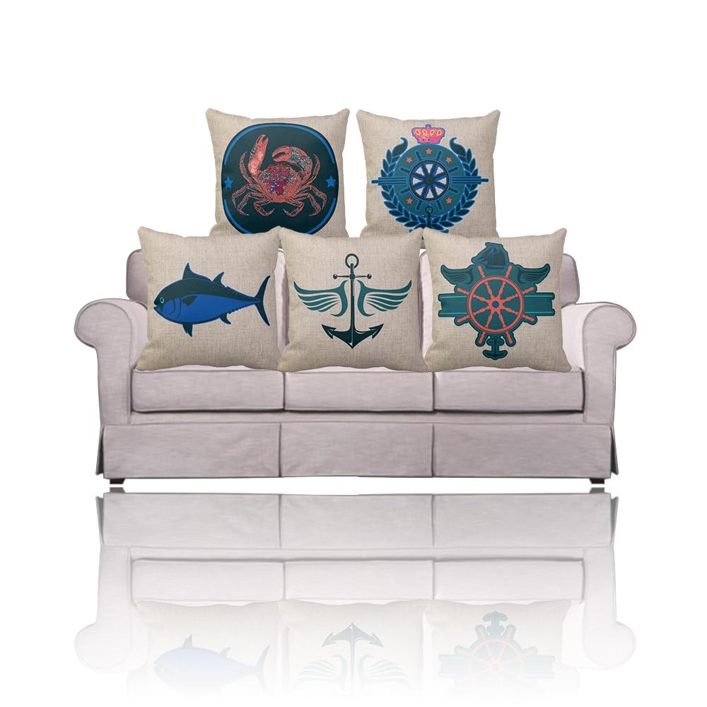 Navy blue Rudder/Anchor print nautical decorative Throw pillows covers,outdoor sofa linen ...