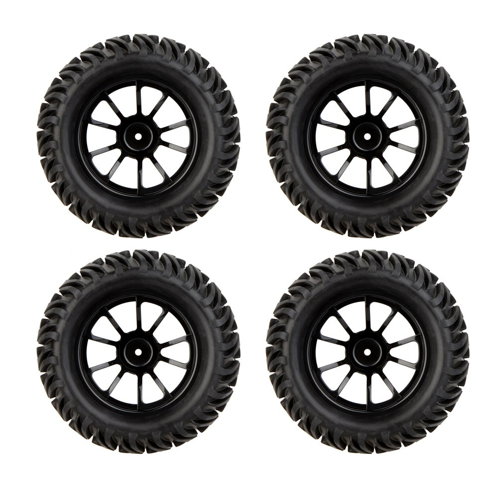 High Quality 4PCS 1/10 Wheel Rim & Tire for Traxxas HSP Redcat Monster Truck HPI Kyosho RC Car Accessories Kids Birthday Gift 4pcs high quality 1 10 rally car wheel rim and tire for 1 10 tamiya hsp hpi kyosho 4wd rc on road car
