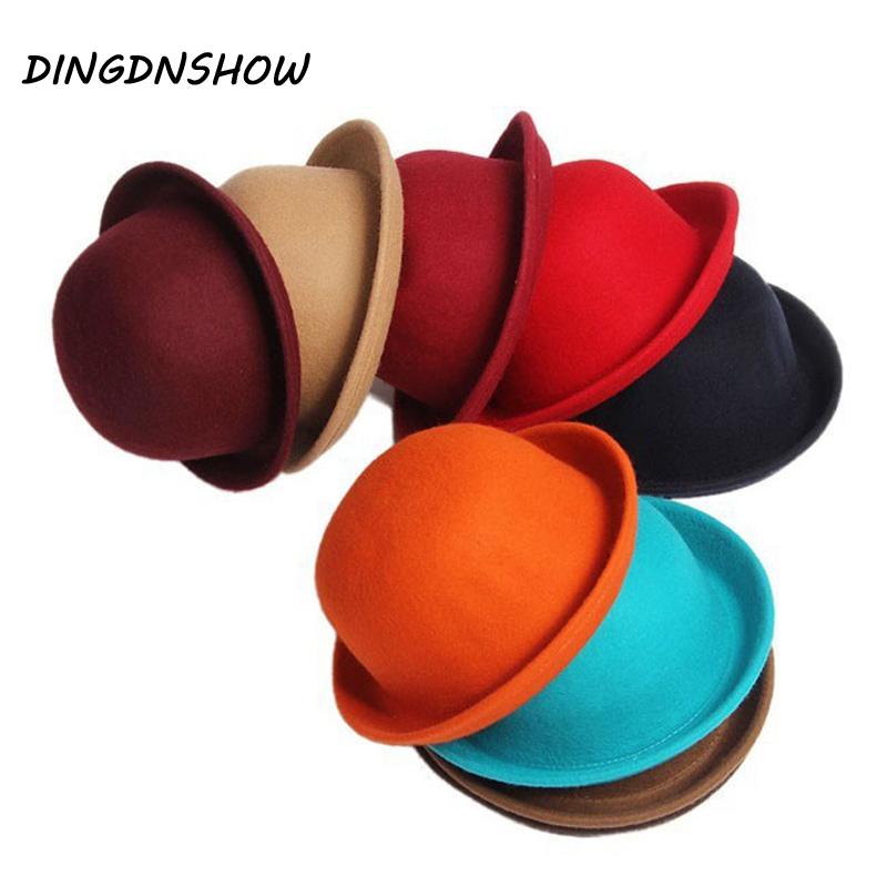 DINGDNSHOW 2019 Fashion Winter Hat Fedora Vintage Lady Cute Children Trendy Wool Felt Bowler Derby Floppy Hats For Girl and Boy(China)