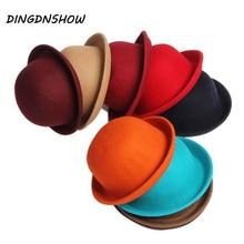 Зимняя шляпа Федора Винтаж леди милые дети Мода шляпа котелок шерстяного войлока Дерби широкополые шляпы для девочек мальчиков