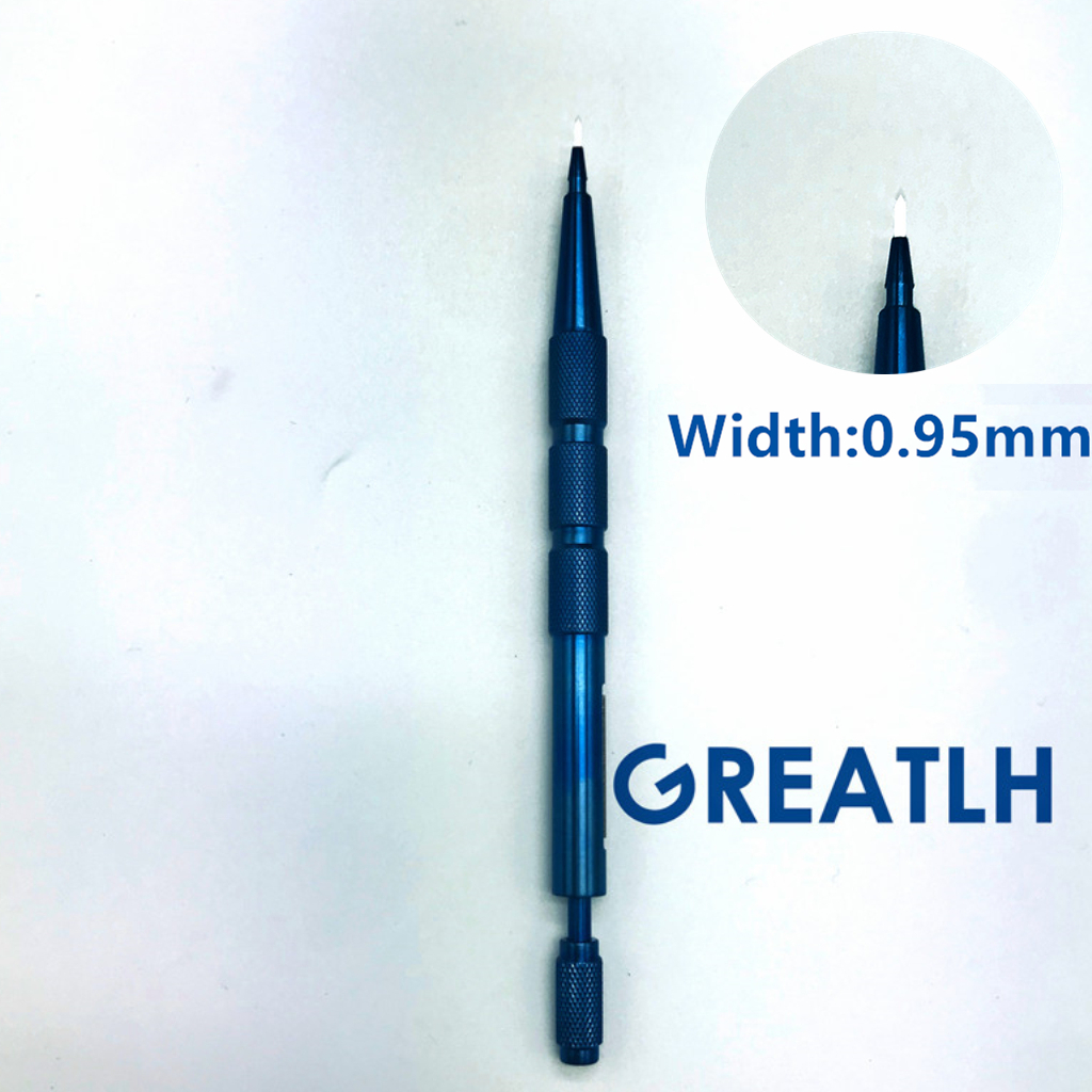 1 pcs 0.95mm 높은 quanlity 60도 사파이어 두피 간호 수동으로 이식 도구 눈썹 심기 도구-에서스킨 케어 도구부터 미용 & 건강 의  그룹 1