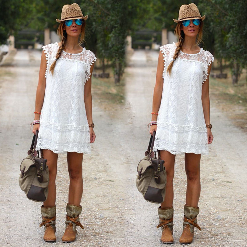 Y Women S Summer Casual Sleeveless Dress White Party Beach Short Mini In Dresses From Clothing Accessories On Aliexpress