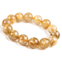 16mm Brazil Natural Titanium Golden Hair Needle Rutilated Quartz Crystal Round Bead Jewelry Stretch Powerful Women