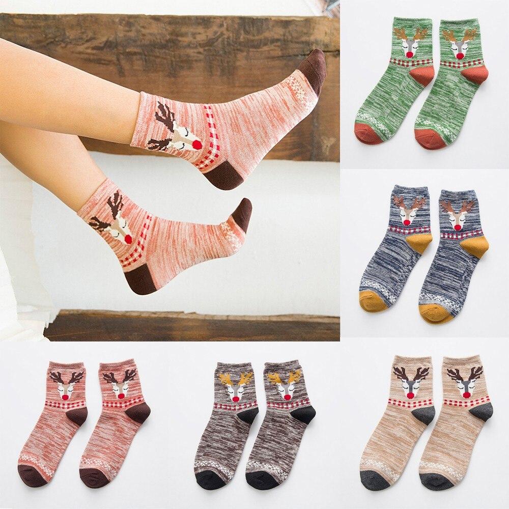 2019 New Things Socks Girls Christmas Comfortable Breathable Cotton Socks Cartoon Elk Cute Kawaii Socks Calciteins