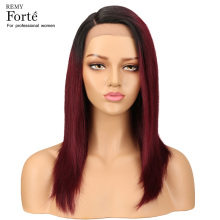 Remy Forte Lace Front Human Hair Wigs Straight 100% Remy Brazilian Human Hair Wigs U Part T1b/99j Short Real Human Hair Wigs