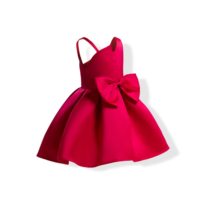 2 Popularny kolor Red Blue Baby Girls Pageant Sukienek Bowknot Bez - Ubrania dziecięce - Zdjęcie 3
