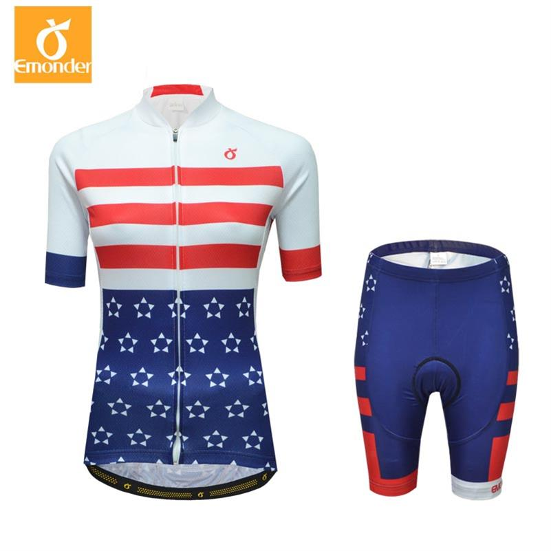 EMONDER Pink Short Sleeve Cycling Jersey Set Women Summer Quick-Dry Bicycle Clothes Ropa Ciclismo Breathable MTB Bike Clothing