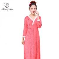 Womens dresses công chúa Cho ngực 96-118 cm Áo Ngủ Dài cổ điển áo ngủ người phụ nữ đêm ngủ batas de dormir 957