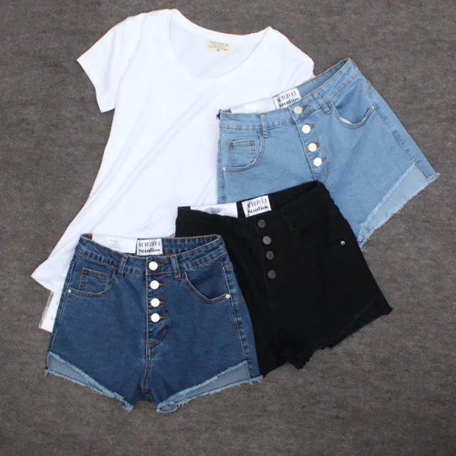 2016 verão novo estilo Europeu rua casual sólidos single-breasted cintura estiramento denim shorts shorts mulheres de flash