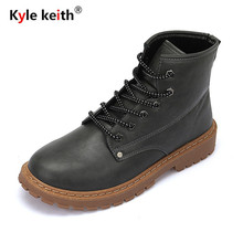 Kyle Keith Desiger Boots Men Autumn Winter Leather Ankle Boots Fashion British Lace-up Cowboy Boots Casual Men Shoes
