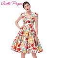 Verano de manga corta hueco retro vintage rockabilly dress 2017 ahuecado frente algodón impreso floral 50 s de picnic dress for women