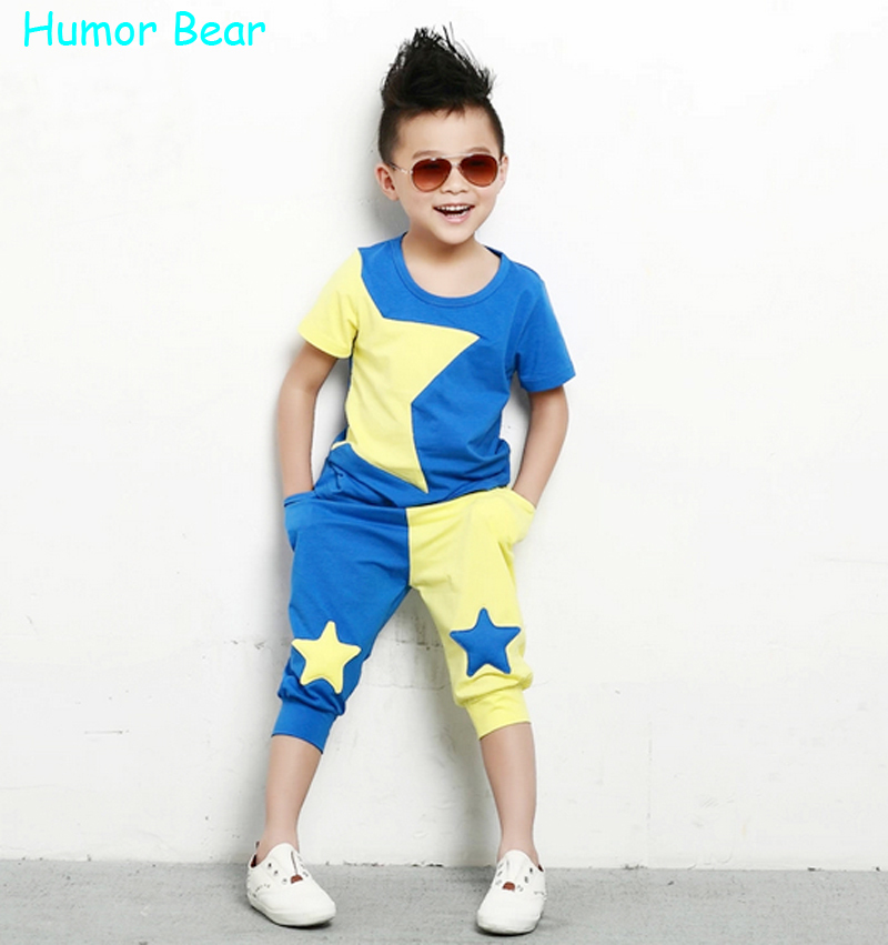 Humor Bear 2015 NEW children clothing set stars boys set baby sets short t shirt+pants 2 pcs set clothes kids suit 2-6Years