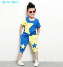 L'humour Ours enfants vêtements ensemble étoiles garçons mis bébé fixe à court t-shirt + pantalon 2 pcs set vêtements enfants costume 2-six Années
