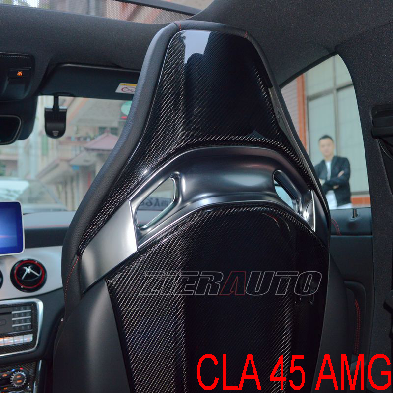 Carbon Fiber Interior Trims For Mercedes-Benz CLA45 AMG Full/Dry Carbon Seat Cover Fit Seat Back CLA 45 AMG Carbon Stickers