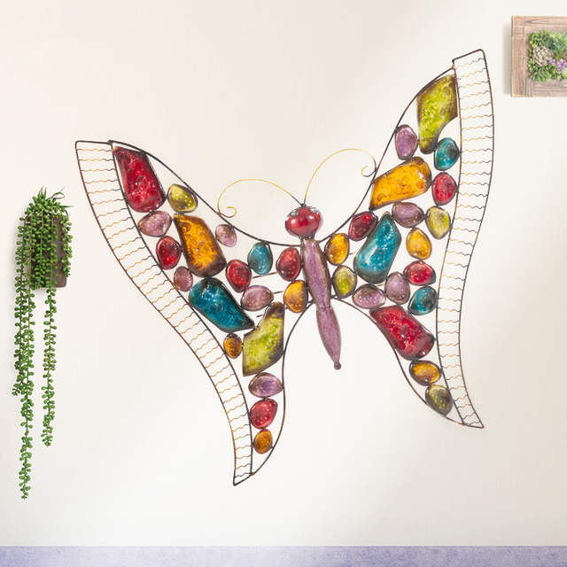 Creative Home Decor Abstract Butterfly Wall Sculpture Decoration Xmas Metal  Statue TV Background Xmas Gift