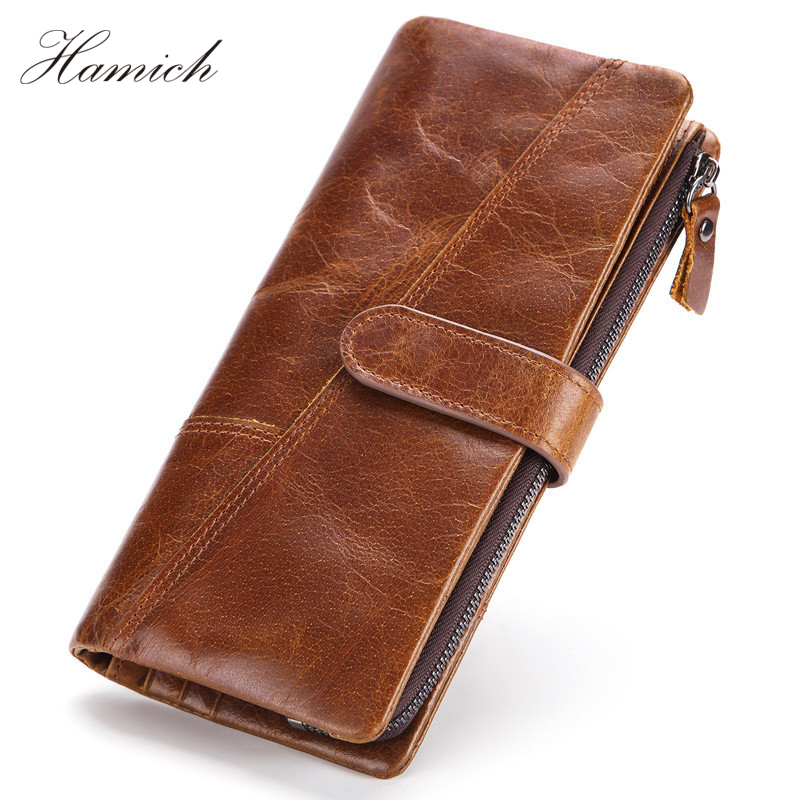 Hamich Genuine Leather Men Wallet Man Perse Coin Purse Portomonee Walet Homme Long Handy Clutch Card Holder Money Bag