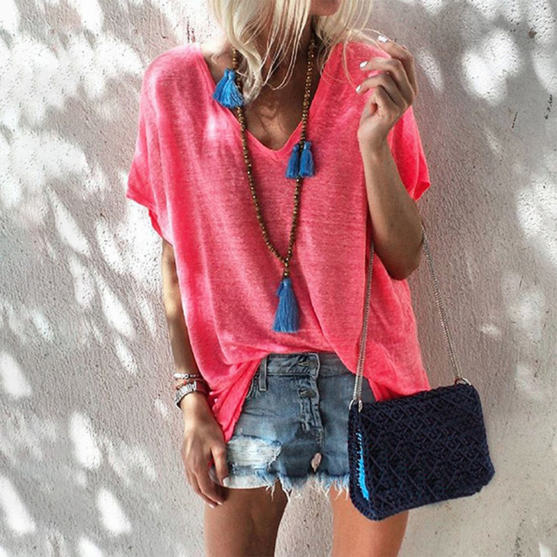 2020 Summer Women T-shirt Casual Loose Short Sleeve Tops Ladies Fashion New Sexy V Neck Solid Color Tee Shirts Plus Size S-5XL(China)