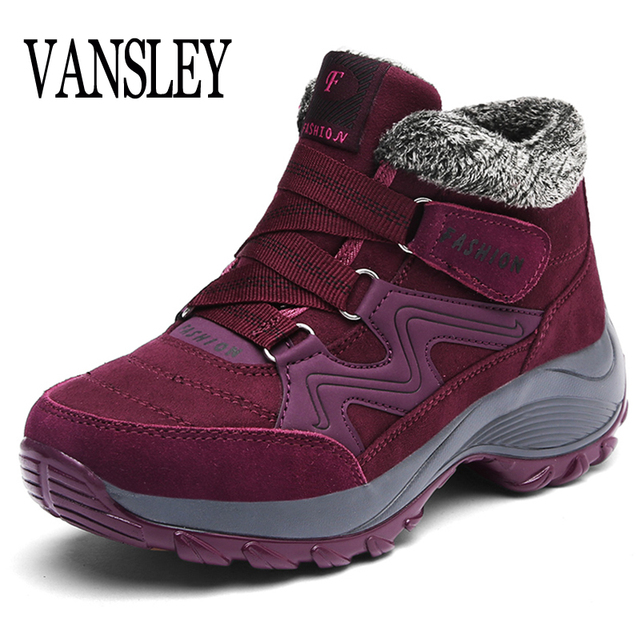 Women Snow Boots Shoes Warm Plush Krasovki Ankle Boots Brand Female Shoes Wedge Snow Boots Waterproof