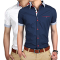 2015 новая коллекция весна лето мужчины свободного покроя блузка рубашки с коротким рукавом мужская рубашка мужской мода формальные Camisa Masculina T306