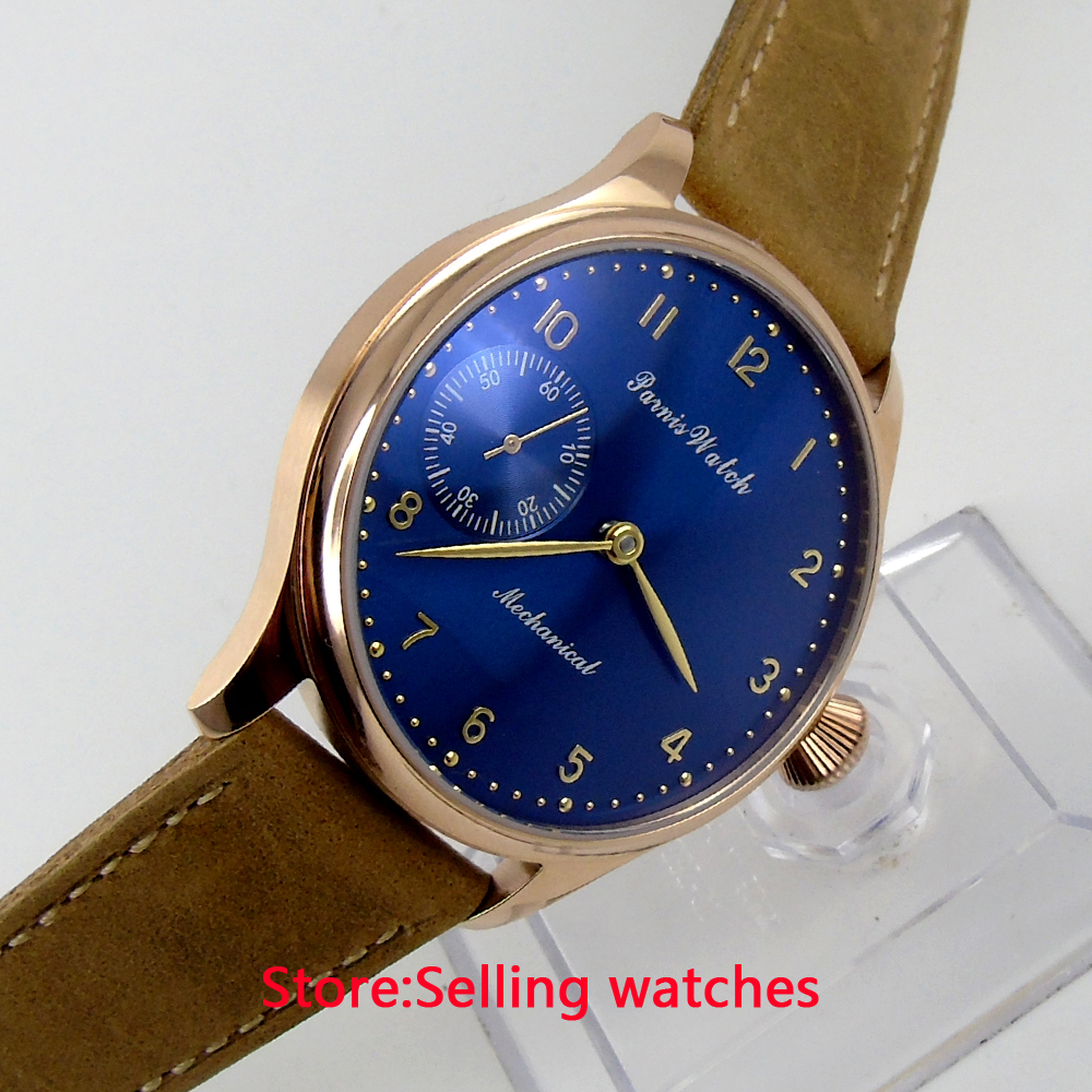 44mm parnis Rose Gold case light yellow dial big 6497 movement hand winding mens watch 44mm parnis rose gold case black dial blue luminous 6497 movement hand winding mens watch
