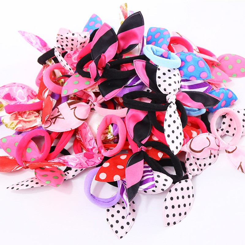 10PCS/Lot Fashion Women Gilrs Cute Rabbit Ears Nylon Elastic Hair Bands Ponytail Holders Rubber Bands Scrunchie Hair Accessories