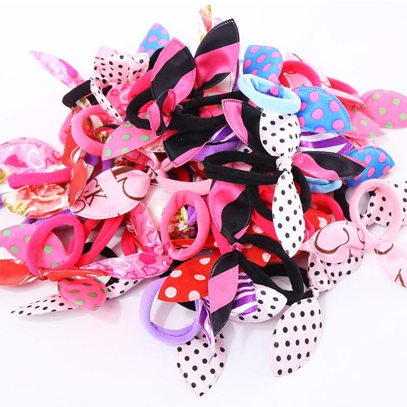 10PCS/Lot Fashion Women Gilrs Cute Rabbit Ears Nylon Elastic Hair Bands Ponytail Holders Rubber Bands Scrunchie Hair Accessories