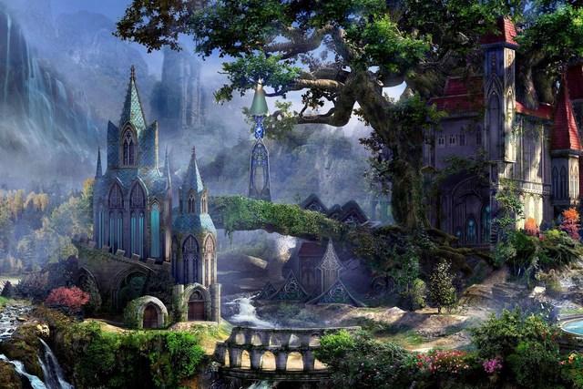 Home decoration fantasy art artwork waterfall forest elf
