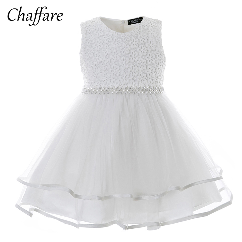 Chaffare Infant Girls Dress Ceremony Baby Party Dresses Beading Newborn Baptism Prom Gown Toddler Birthday Frock for Little Girl