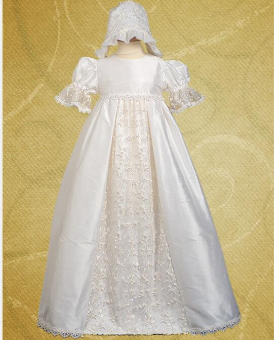 2016 Vintage Handmade Ivory Baptism Gown Robe Baby Girl Christening Dress Lace Applique WITH BONNET 0 4 6 9 12 18 24 Month