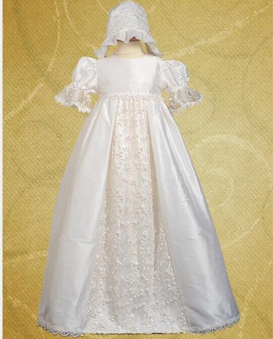 6ab4fef3b 2016 hecho a mano de la vendimia marfil bautismo vestido niña vestido de  bautizo Encaje applique con Bonnet 0 4 6 9 12 18 24 meses