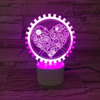 LED Gear Heart Acrylic 3D Night Lights Bluetooth Speaker Music Lamp 3D Colorful Table Lamp Wedding party Atmosphere lamp