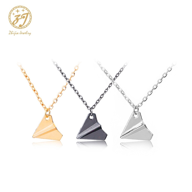 Zhijia new hot Plane necklaces black Gold silver plated necklace Simple Paper tiny aircraft Airplane jewelry image
