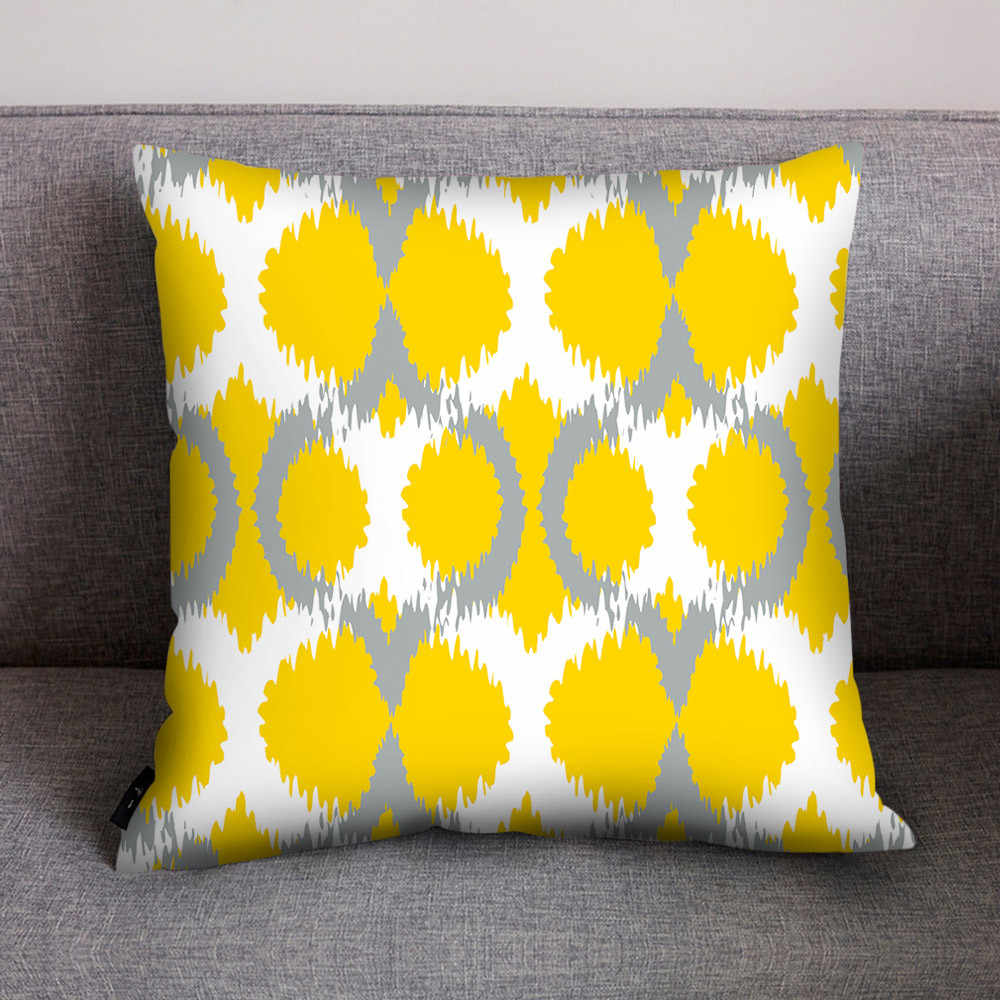 Print Pillow Case Polyester Cover Home Throw Pillows Luxury Pillowcase Yellow Christmas Covers