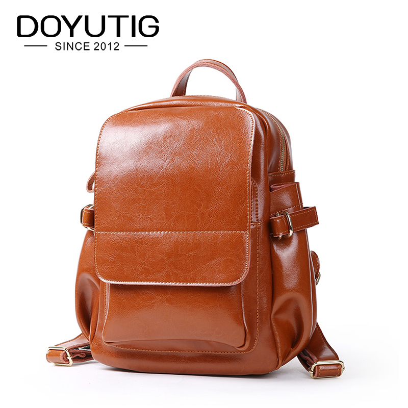 DOYUTIG High Quality Womens Oil Wax Leather Backpack Casual Large Capacity Girl Knapsack For School Split Leather Backpack E163DOYUTIG High Quality Womens Oil Wax Leather Backpack Casual Large Capacity Girl Knapsack For School Split Leather Backpack E163