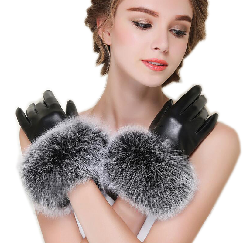Winter Quality Women's Fox Fur Gloves Thermal Sheepskin Genuine Leather Gloves High Quality