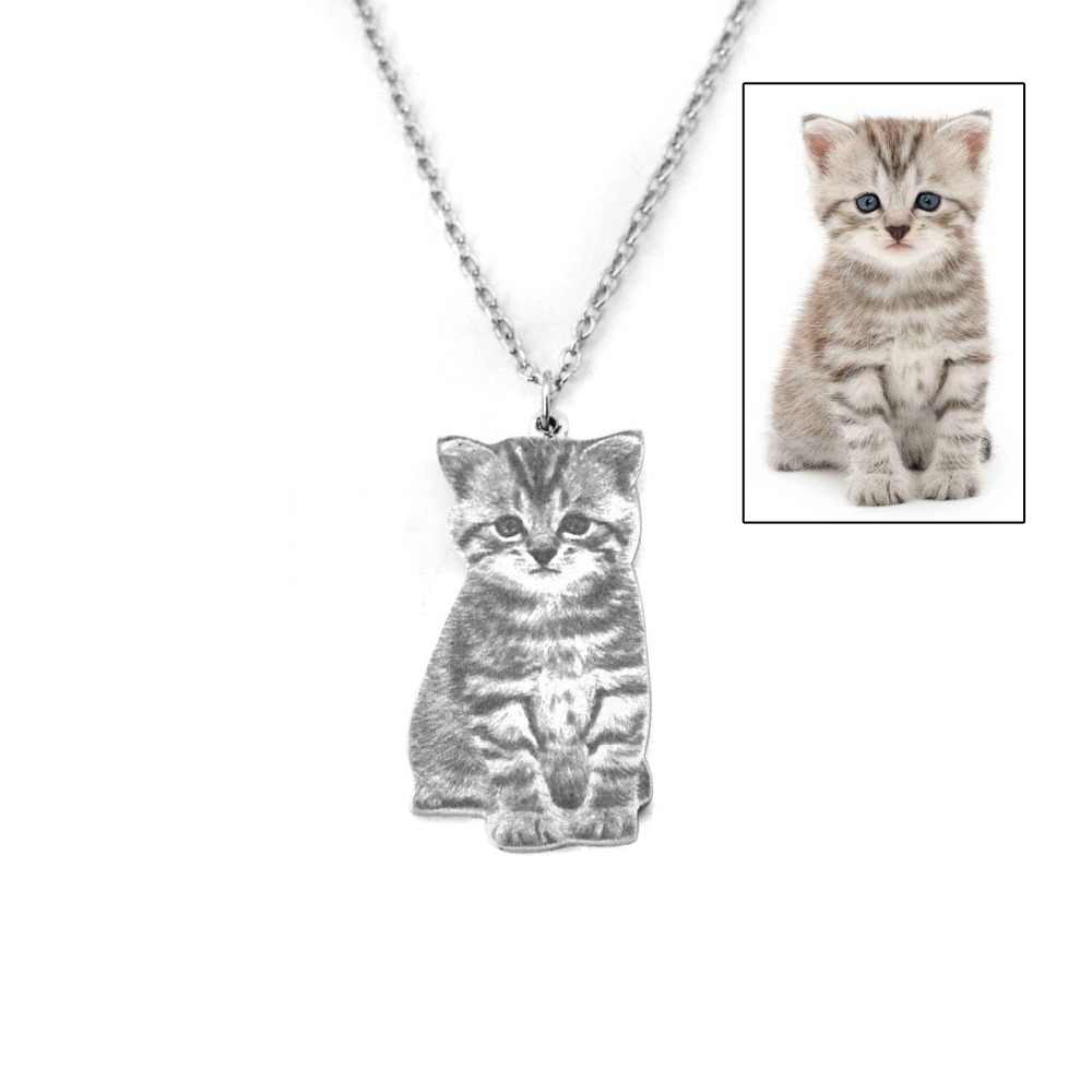 Custom Portrait Your Pet Photo Necklace Pet Lover Gift Cat Necklace Personalized Silver Pet Name Necklace
