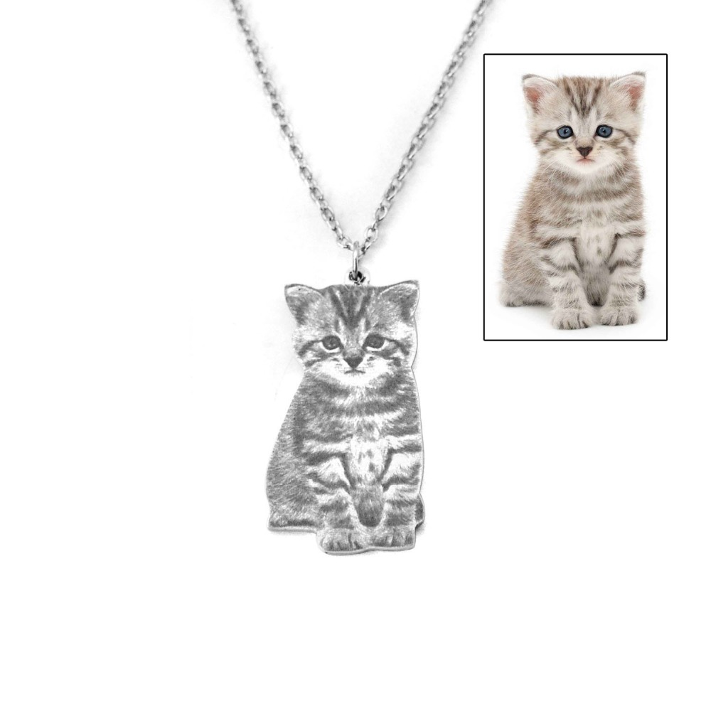 Custom Portrait Your Pet Photo Necklace Pet Lover Gift Cat Necklace Personalized Silver Dog Name Necklace Memory Gift For Her