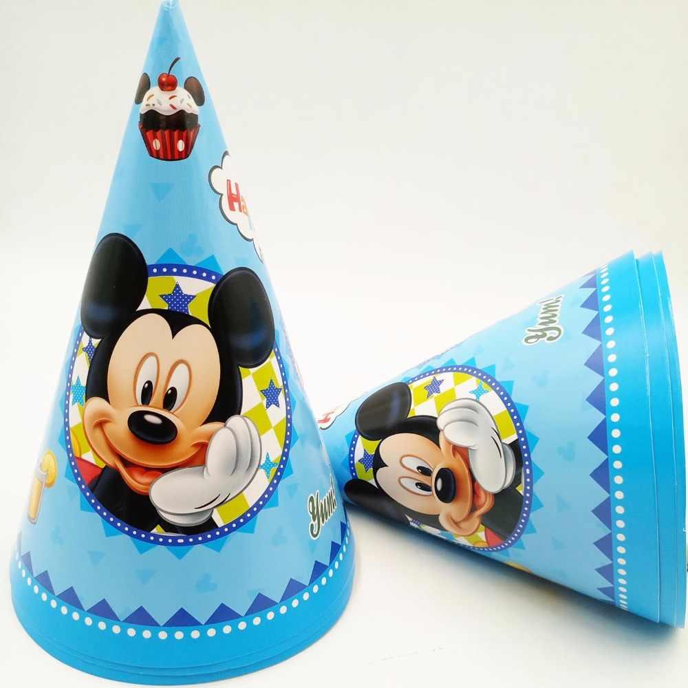 6 шт. 20*14.5 см Микки Мышь Бумага Кепки шляпа мультфильм тема малыш мальчик День рождения поставки украшение принадлежности для дети рождения