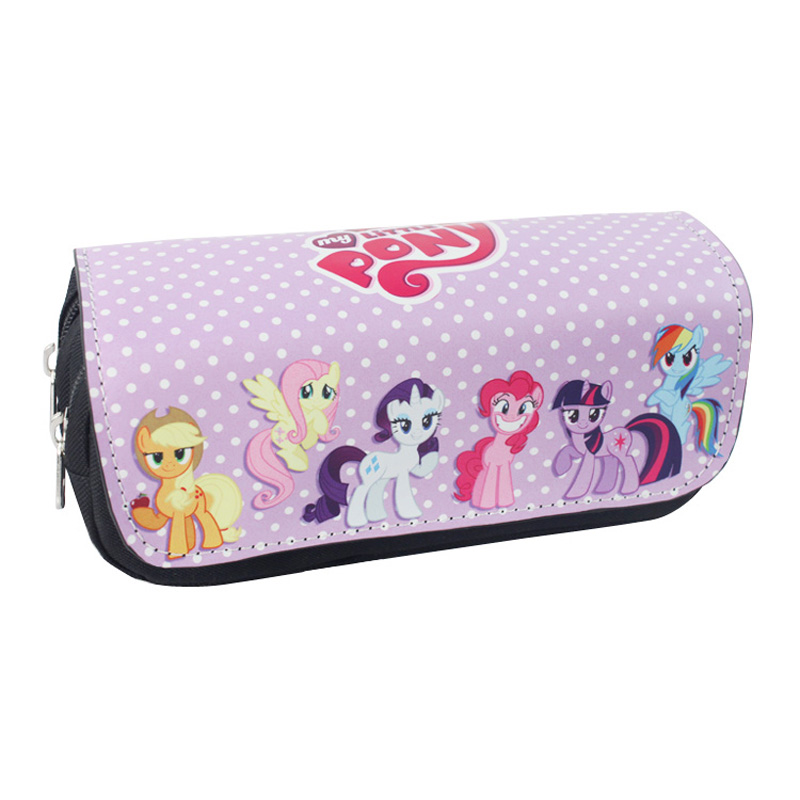 Cartoon My Little Pony Colorful Pencil Case Bag Student Stationery Pouch Cosmetic Travel Makeup Bag