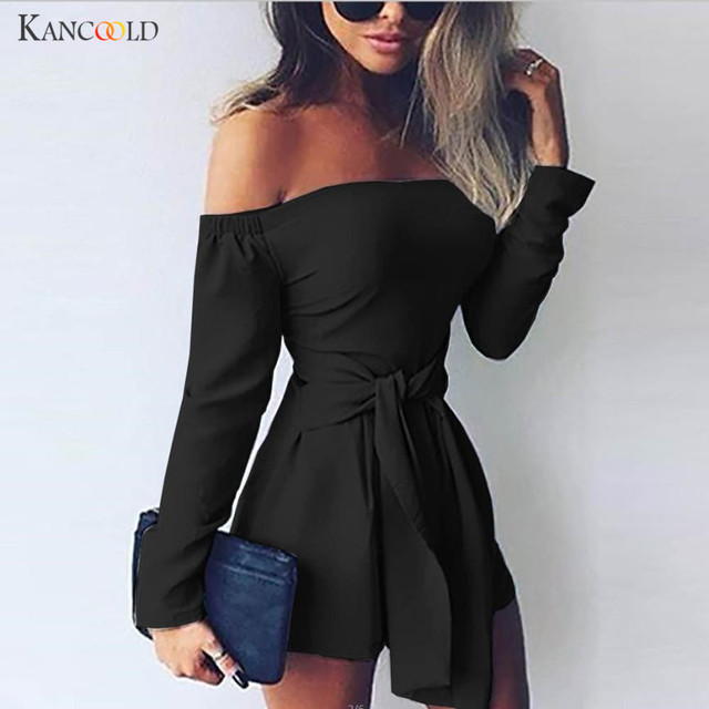 cc48b01b52e4 2018 Sexy off shoulder Solid Slash Neck elegant jumpsuit romper long sleeve  beach short playsuit Women overalls with Sashes n23